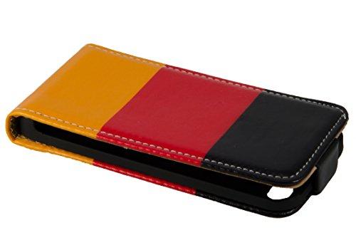handy-point Klapptasche Klapphülle Flip Case Tasche Hülle Schutzhülle für iPhone SE 5 5S, mit Deutschland Flagge, Schwarz, Rot, Gold