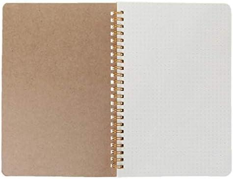 Meiqqm A5 Bullet Notizbuch Kraftpapier Dot Grid Time Management Blanko Buch Spiralbuch Wochenplaner Schule Büro Supplies 21.5x14.5cm 1
