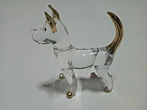 Miniature Hand Blown Art Glass Figurine - Dog ( Copter Shop ) - Tube Pumpkin Pepper