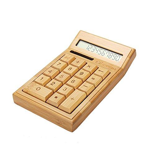 Sengu Wooden Solar Calculators Function Desktop Calculator Display
