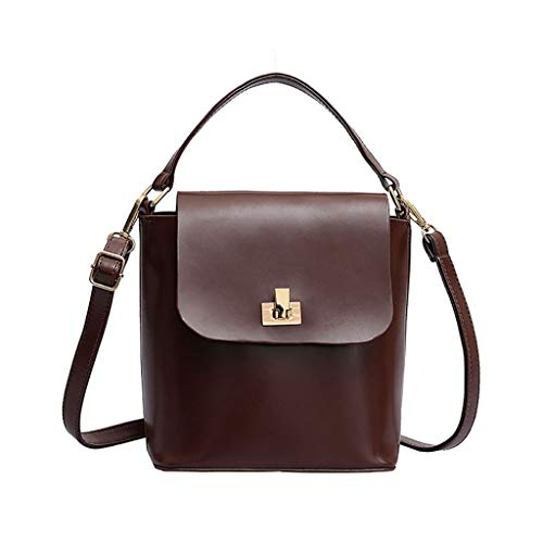 HOSOME Women Hand Bucket Bag Crossbody Winter Vintage Lock Shoulder Bag Coffee