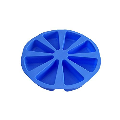 Mirenlife 8 Triangle Cavity Silicone Portion Cake Mold Scottish Scone Cornbread Pan Slices Pastry Pan Pizza Slices Pan (Blue)