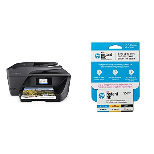 - HP OfficeJet Pro 6968 All-in-One Wireless Printer with Mobile Printing (T0F28A) and Instant Ink Prepaid Card for 50 100 300 Page per Month Plans (3HZ65AN)