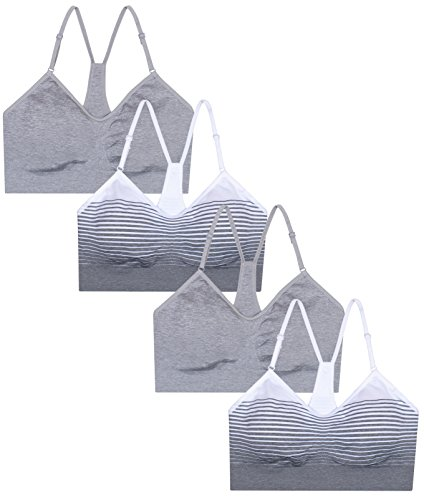 Rene Rofe Women's 4 Pack Racerback Sports Bra with Removable Pads, White,Grey, Small'