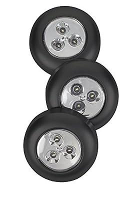Light It! By Fulcrum LED Wireless Mini Stick On Touch Light, 14 Lumen, 3 Pack, Black