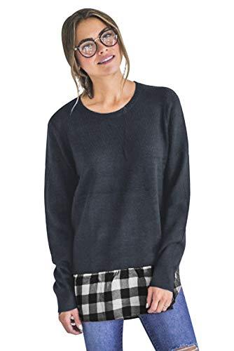 Camisa Blusa 1 Aibayleef Patchwork Pullover mujer larga de de cuello Comprobada redondo de en Camiseta 2 manga cl YYaxqUS