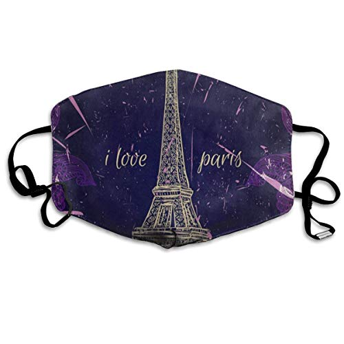 FunnyCustom Mouth Mask Vintage Eiffel Tower I Love Paris Surgical Mask Winter Healthy Warm for Unisex Halloween]()