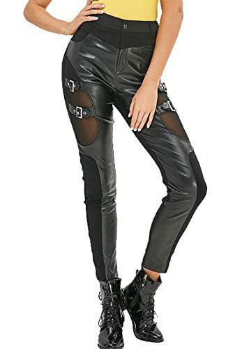 Nihsatin Fishnet Trim PU Leather Patchwork Pants Thin Lightweight Gothic Punk Leggings for Women
