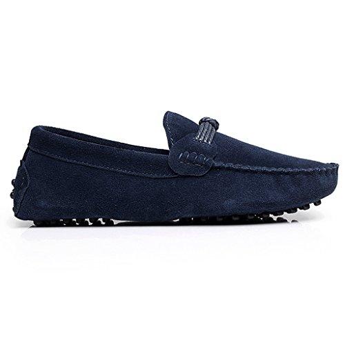 Rismart Unisexo Mujer Hombres Súper Comodidad Ante Auténtico Cuero Mocasines Zapatos Azul Marino