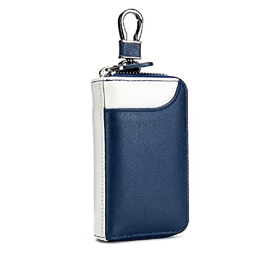 Bag Case Keychain (Leather Key Wallet Credit Holder Case Zip Keychain Bag with 6 Hooks for Men Women (Blue + White))