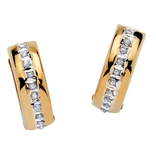 14K Yellow Gold Diamond Cut Diamond Fascination Huggie Hoop Earrings (13mm) Diamond Accent