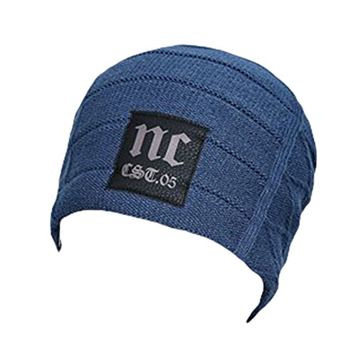 Ukallaite Our Fashion Century - Gorro de Punto de Ganchillo para Hombre, Color Azul Marino, Gris azul