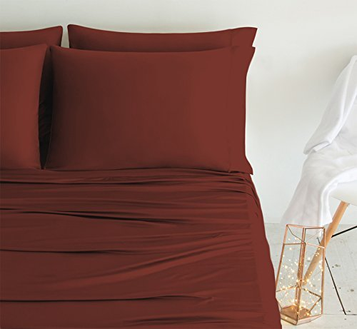 SHEEX LUXURY COPPER Pillowcases (Set of 2), Ultra-Soft, Breathable PRO+IONIC Copper Fabric for a Cool, Dry and Comfortable Night's Sleep, Rust (King)