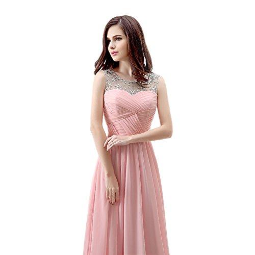 Ball Gerüscht Line Rosa Frauen Chiffon engerla Kleid Pink Rückenfrei Kristall A Träger Sheer Pailletten wX478xv