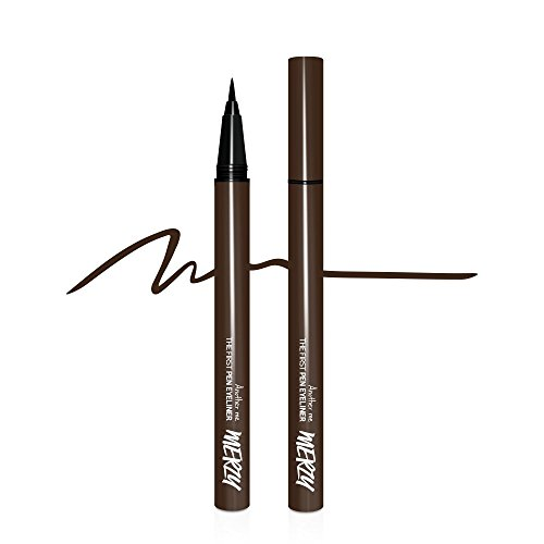 Merzy Brush tip Pen Eyeliner w/Long-Lasting 12HR Waterproof tattoo ink (BROWNIE)