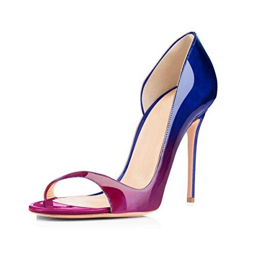 Onlymaker Vrouwen `peep Toe Hakken Sandalen Slingback Hoge Hak Stiletto Pumps Voor Party Dress Z Veranderende Blue