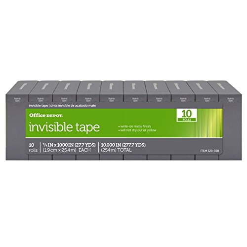 Office Depot Brand Invisible Tape, 3/4 x 1000-Inches per Roll, Clear (10 Rolls) by Office Depot (Image #5)
