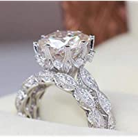 Zhiwen 18K White Gold Plated Wedding Ring Set Eternal Love Collection Anniversary Promise Ring Flash Diamond Round Engagement Ring Size 6-10 (US Code 8)