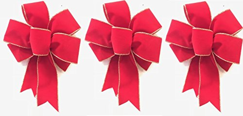 (Wired Red Bow With Gold Edge Velvet Christmas Bow 3 Handmade Holiday Bows 8 - 9 Inches in Diameter - Gold and Red Hand Made Bow By Wreaths For Door)