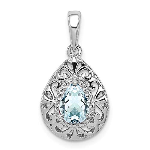925 Sterling Silver Blue Aquamarine Teardrop Pendant Charm Necklace Gemstone Fine Jewelry Gifts For Women For Her