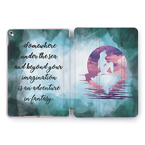 Wonder Wild Disney Mermaid Watercolor Cartoon Hard Case iPad 5th 6th Generation Mini 1 2 3 4 Air 2 Tablet Pro 10.5 12.9 2018 2017 9.7 inch Walt Cover Ariel Little Ocean World Quote Princess Cute Girl -