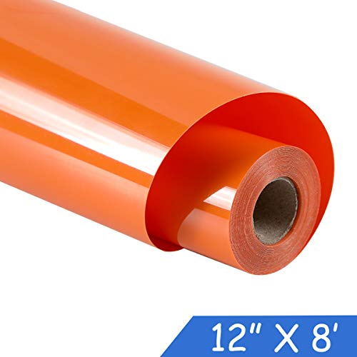 guangyintong Adhesive Heat Transfer Vinyl for T-Shirts 12 x 8ft Roll Glossy (k7-Orange)