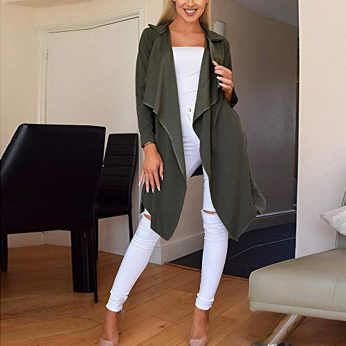 NUWFOR Women's Loose Solid Irregular Hem with Lapel Coat Trench Coat Cardigan Tops(Army Green,S) by NUWFOR (Image #3)