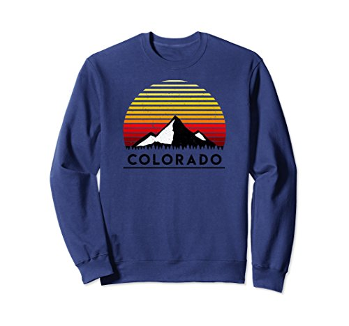 Colorado Pullover - Unisex Colorado Mountain Top Premium Crew Neck Sweatshirt Medium Navy
