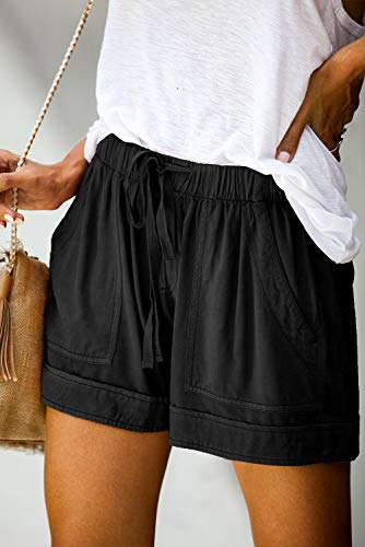 GOLDPKF Workout Drawstring Lounge Shorts Women Summer Plus Size Cotton with Pockets
