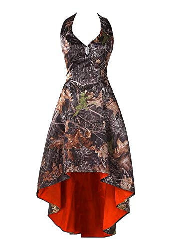 LEJY Women's Camo Prom Dress Homecoming Dresses Halter Bridesmaid High Low Beaded Prom Dresses Orange 8