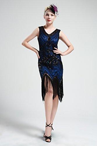 13ae1a437b4 Art Tango Robe Latine Bal Flapper Babeyond Cou Sans Fête Manche V Bleu  Gatsby Frangée Déco Pour Costume Soirée Paillette Femme ...