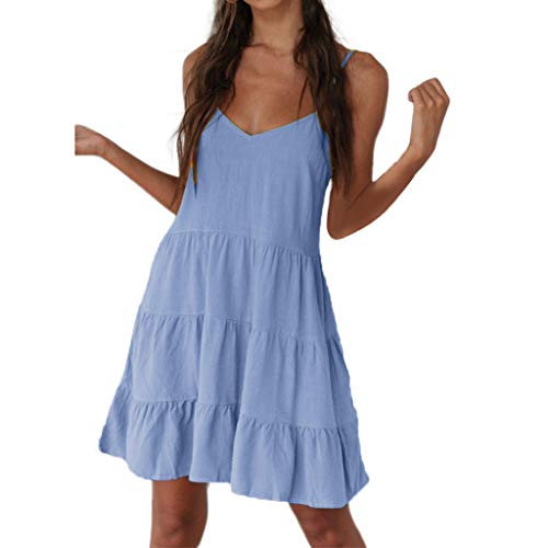 Sanyyanlsy Women's Summer Cute Cupcake Layer Backless Spaghetti Strap Deep V-Neck Solid Color Above Short Dress Dating Blue