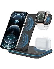ZHIKE Trådlös laddare, 3-i-1 Qi-certifierad 15 W snabbladdningsstation för Apple iWatch Series 6/5/4/3/2/1, AirPods, trådlöst laddningsstativ kompatibelt med iPhone SE 2020/11/X serie/Samsung