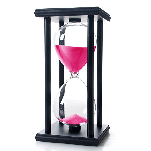 Bellaware 60 Minutes Hourglass, Wood Sand Timer,Pink (Hour Hourglass 1)