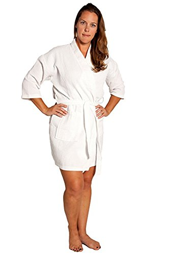 White Spa Waffle Robe - Soft Touch Linen Lightweight Knee-Length Waffle Kimono Robe, Bridesmaids and Spa Bathrobe (One Size - Large, White)