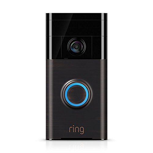 Ring Video Doorbell HD Wireless Camera Monitor with Night Vision and Installation Tools, Cleaning Cloth – Bronze