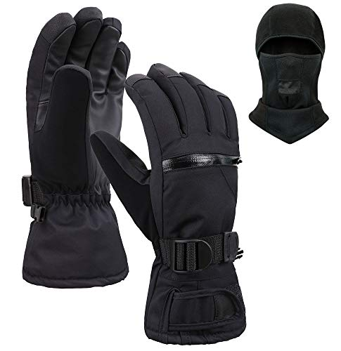 Jasmine Ski Gloves and Ski Mask,Winter Warm 3M Insulation Waterproof Snow Gloves and Face Mask for Skiing, Snowboarding, Motorcycling, Cycling, Outdoor Sports,L ()