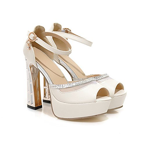 AllhqFashion Womens Soft Material Peep Toe High Heels Buckle Solid Sandals White bqlUBexYa