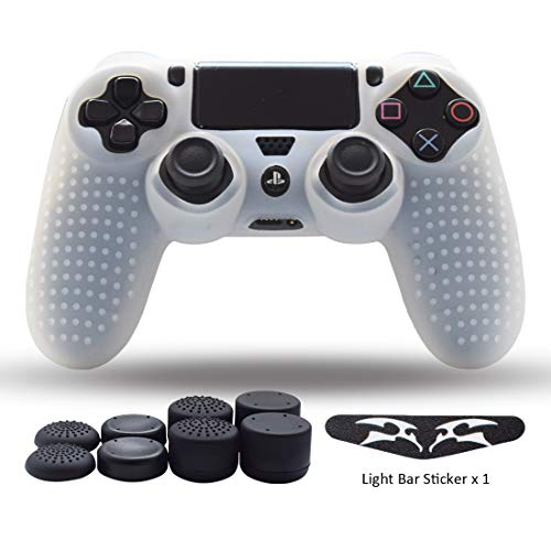 (PS4 Controller Skin,Silicone Grips for PlayStation 4 PS4/Slim/Pro Controller Anti Slip Cover Case Protector for Dual Shock 4 Controller-One Light Bar Sticker - 8pcs Thumb Grips-Studs Transparent White )