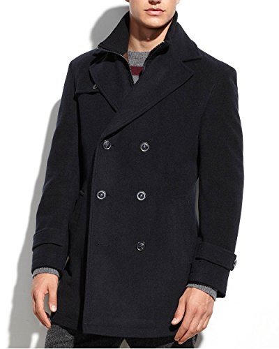 Ralph Lauren Mens Wool Double Breasted Pea Coat Navy (Double Breasted Notched Collar Peacoat)