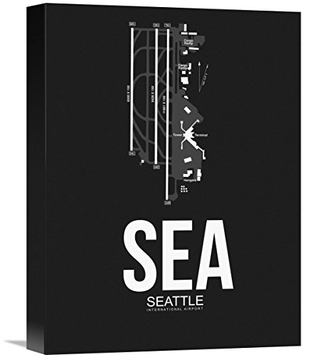 """Naxart Studio SEA Seattle Airport Black Giclee on Canvas, 12"""" by 1.5"""" by 16"""" from Naxart Studio"""