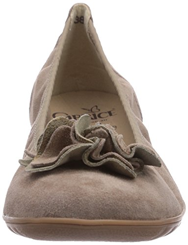 Taupe Women's Caprice Closed 22160 Suede 343 ballerinas Braun Brown xYwqfS5Uw