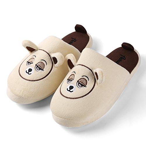 Aerusi Kid Adulte Peluche Floue Mignon Ours Animal Hiver Pantoufle Chambre À Coucher Intérieur Maison Chaussures Itsy Nounours Beige