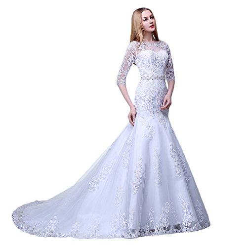 nbsp;Sleeve 2 1 Damen Hochzeit engerla Meerjungfrau Blume Elfenbein Bateau Spitze Applikation Kleid YqZ70X