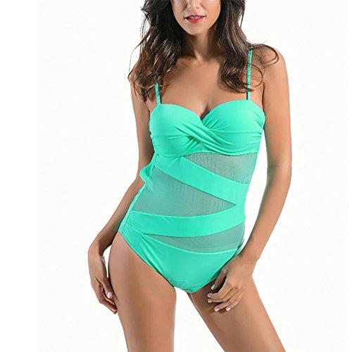 HXQ De las mujeres Una pieza Bikini escotado por detrás malla Trajes de baño Green