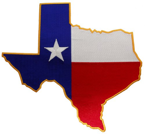 - Large Texas Shape Flag Embroidered Patch Lone Star State Iron-On Emblem