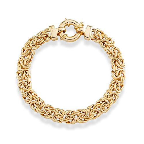 (MiaBella 18K Gold Plated Sterling Silver Italian 9mm Classic Byzantine Link Chain Bracelet for Women, 7