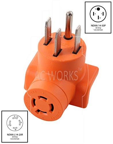 AC WORKS [AD1450L1420] Range/ RV/ Generator Outlet Adapter 4-Prong 14-50P Plug to 4-Prong 20Amp Locking L14-20R Adapter by AC WORKS (Image #1)