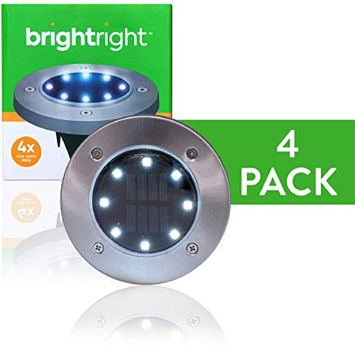 Bright Right - Outdoor Solar Disk Lights - 8 LEDs - Waterproof Landscape Lighting - Yard, Garden, Patio, Lawn, Deck, Pathway, Driveway - Dusk to Dawn - White (4 Pack)