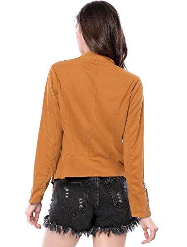 Longues Allegra K Femme Blouson Brown Manches wqtq680